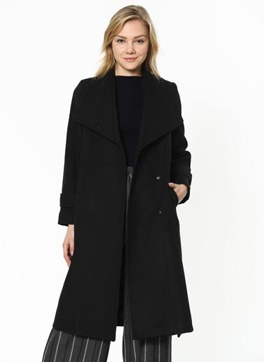 Dewberry Polyesterli Düğmeli Kadın Palto Siyah